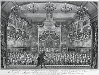0431445 © Granger - Historical Picture ArchiveFINE ART.   Actor in a scene in the opera of Amsterdam, 1768, engraving by Simon Fokke (1712-1784). Holland, 18th century. Full credit: De Agostini / G. Dagli Orti / Granger, NYC -- All Rights Reserved.