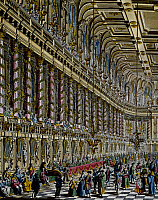 0431448 © Granger - Historical Picture ArchiveFINE ART.   Court dance in the cavallerizza (covered riding-school), Royal Court of Vienna, colour engraving. 18th century. Detail. Full credit: De Agostini / G. Dagli Orti / Granger, NYC -- All Rights Reserved.