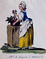0431451 © Granger - Historical Picture ArchiveFINE ART.   Flower seller in Vienna, 1787, print. Austria, 18th century. Full credit: De Agostini / G. Dagli Orti / Granger, NYC -- All Rights Reserved.