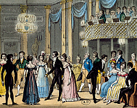 0431462 © Granger - Historical Picture ArchiveFINE ART.   Society dance in 1823. United Kingdom, 19th century. Full credit: De Agostini / G. Dagli Orti / Granger, NYC -- All Rights Reserved.
