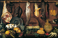 0431491 © Granger - Historical Picture ArchiveFINE ART.   Pantry with fish, eggs, asparagus by Jacopo Chimenti (1551-1564), oil on canvas, cm 77x116. Full credit: De Agostini / G. Nimatallah / Granger, NYC -- All Rights Reserved.
