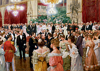 0431504 © Granger - Historical Picture ArchiveFINE ART.   Vienna Municipal Ball, 1904, painting by Wilhelm Gause (1853-1916), watercolour and oil on cardboard, 62x88 cm. Full credit: De Agostini / A. Dagli Orti / Granger, NYC -- All Rights Reserved.