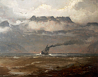 0431508 © Granger - Historical Picture ArchiveFINE ART.   View of a Norwegian fjord, 1848, by Peder Balke (1804-1887). Norway, 19th century. Full credit: De Agostini / A. Dagli Orti / Granger, NYC -- All Rights Reserved.
