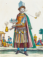 0431546 © Granger - Historical Picture ArchiveFINE ART.   Coffee seller, colour illustration, France, 17th century. Full credit: De Agostini / G. Dagli Orti / Granger, NYC -- All Rights Reserved.