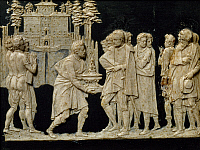 0431612 © Granger - Historical Picture ArchiveFINE ART.   Presentation to Francesco I of a model fountain in Pratolino, by Jean de Boulogne aka Giambologna (1529-1608), wax tile. Full credit: De Agostini / G. Nimatallah / Granger, NYC -- All Rights Reserved.