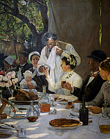 0431724 © Granger - Historical Picture ArchiveFINE ART.   The newlyweds' table, detail from The Wedding Meal at Yport (1886) by Auguste Fourie (1854-1896). Full credit: De Agostini / G. Dagli Orti / Granger, NYC -- All Rights Reserved.