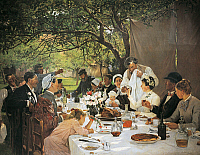 0431725 © Granger - Historical Picture ArchiveFINE ART.   The Wedding Meal at Yport, 1886, by Auguste Fourie (1854-1896). Full credit: De Agostini / G. Dagli Orti / Granger, NYC -- All Rights Reserved.