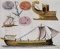 0431768 © Granger - Historical Picture ArchiveFINE ART.   Models of boats of ancient Greece, 1827 engraving from the opera costume ancient and modern, Giulio Ferrario (1767-1847). 19th century. Full credit: De Agostini / A. Dagli Orti / Granger, NYC -- All Rights Reserved.