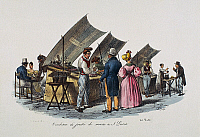 0431874 © Granger - Historical Picture ArchiveFINE ART.   Seafood seller in Santa Lucia, Naples, lithograph, Italy, 19th century. Full credit: De Agostini / L. Romano / Granger, NYC -- All Rights Reserved.