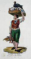 0431875 © Granger - Historical Picture ArchiveFINE ART.   The chicken seller, lithograph. Italy, 19th century. Full credit: De Agostini / L. Romano / Granger, NYC -- All Rights Reserved.