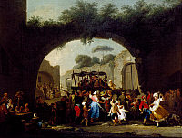 0431881 © Granger - Historical Picture ArchiveFINE ART.   Neapolitan festival of Madonna Dell'Arco, painting by Giacinto Gigante (1806-1876). Detail. Full credit: De Agostini / L. Romano / Granger, NYC -- All Rights Reserved.
