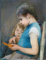 0431917 © Granger - Historical Picture ArchiveFINE ART.   The older sister (the letter opener), ca 1887, painting Egisto Ferroni (1835-1912), oil on canvas, 56x44 cm. Full credit: De Agostini Picture Library / Granger, NYC -- All Rights Reserved.