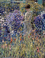 0431920 © Granger - Historical Picture ArchiveFINE ART.   Woman in the garden, ca 1912, painting by Frederick Carl Frieseke (1874-1939), oil on canvas, 81x65 cm. Full credit: De Agostini Picture Library / Granger, NYC -- All Rights Reserved.