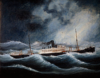 0431937 © Granger - Historical Picture ArchiveFINE ART.   The Austria steamship of the Lloyd company during a storm, oil on canvas. 20th century. Full credit: De Agostini / A. Dagli Orti / Granger, NYC -- All Rights Reserved.