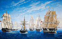0432001 © Granger - Historical Picture ArchiveFINE ART.   British warships saluting a passing steamer, oil on canvas. 19th century. Full credit: De Agostini / A. Dagli Orti / Granger, NYC -- All Rights Reserved.