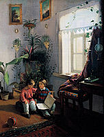 0432033 © Granger - Historical Picture ArchiveFINE ART.   Children browsing a picture book, 1854, by Ivan Fomich Khrutsky (1810-1885), oil on canvas, 50,5x40,5 cm. Full credit: De Agostini / A. Dagli Orti / Granger, NYC -- All Rights Reserved.