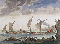 0432038 © Granger - Historical Picture ArchiveFINE ART.   A brig attacking a felucca, by Claude Randon (1674-1704), colour engraving. 17th century. Full credit: De Agostini / G. Dagli Orti / Granger, NYC -- All Rights Reserved.