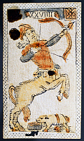0432066 © Granger - Historical Picture ArchiveFINE ART.   Tarot card for Sagittarius. Italy, 16th century. Full credit: De Agostini / A. Dagli Orti / Granger, NYC -- All Rights Reserved.