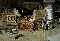 0432161 © Granger - Historical Picture ArchiveFINE ART.   The carpet seller, 1870, painting by Mariano Fortuny y Carbo (1838-1874). Full credit: De Agostini Picture Library / Granger, NYC -- All Rights Reserved.
