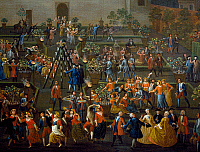0432223 © Granger - Historical Picture ArchiveFINE ART.   Feast for the return of Mozzatore in the garden of Palazzo Rospigliosi at Esquiline, 1749, painting by Giovanni Reder (1693-after 1760). Detail. Full credit: De Agostini / A. Dagli Orti / Granger, NYC -- All Rights Reserved.