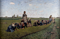0432265 © Granger - Historical Picture ArchiveFINE ART.   Women cleaning flax plants, 1887, painting by Emile Claus (1849-1924), oil on canvas, 128x198 cm. Full credit: De Agostini Picture Library / Granger, NYC -- All Rights Reserved.