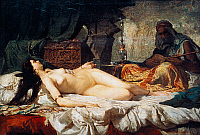 0432283 © Granger - Historical Picture ArchiveFINE ART.   Odalisque (Turkish slave), 1861, painting by Mariano Fortuny y Carbo (1838-1874), oil on cardboard, 56,9x81 cm. Full credit: De Agostini Picture Library / Granger, NYC -- All Rights Reserved.