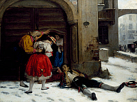 0432354 © Granger - Historical Picture ArchiveFINE ART.   Returning after an all-night party, painting by Domenico Scattola (1814-1876), oil on canvas, 75x100 cm. Full credit: De Agostini Picture Library / Granger, NYC -- All Rights Reserved.