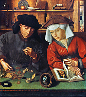 0025050 © Granger - Historical Picture ArchiveMONEYCHANGER & WIFE.   Oil on panel, 1514, by Quentin Metsys.
