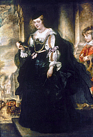 0034094 © Granger - Historical Picture ArchiveRUBENS: HELENE FOURMENT.   Helene Fourment with a carriage. Oil on wood by Peter Paul Rubens, c1639.