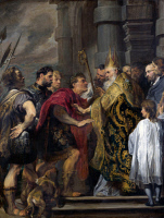 0039394 © Granger - Historical Picture ArchiveVAN DYCK: THEODOSIUS.   Emperor Theodosius refused admission into the church by Saint Ambrose. Canvas. RESTRICTED OUTSIDE US.