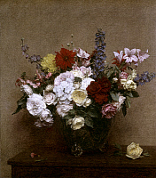 0019609 © Granger - Historical Picture ArchiveFANTIN-LATOUR: FLOWERS.   'The Rosy Wealth of June.' Oil on canvas by Ignace-Henri-Theodore Fantin-Latour, 1886. RESTRICTED OUTSIDE US.