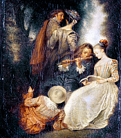 0019740 © Granger - Historical Picture ArchiveWATTEAU: PERFECT HARMONY.   Oil on canvas after Jean-Antoine Watteau, 18th century. RESTRICTED OUTSIDE US.