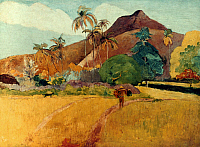 0025275 © Granger - Historical Picture ArchiveGAUGUIN: TAHITI, 1891.   Paul Gauguin: Tahitian Landscape. Oil on canvas, 1891.