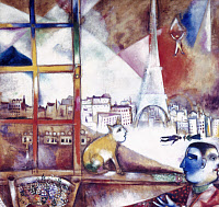 0026249 © Granger - Historical Picture ArchiveCHAGALL: PARIS, 1913.   Marc Chagall: Paris through a Window. Oil on canvas, 1913.