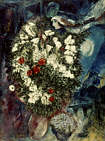 0026655 © Granger - Historical Picture ArchiveCHAGALL: BOUQUET, c1934-47.   Bouquet with Flying Lovers. Oil on canvas by Marc Chagall. RESTRICTED OUTSIDE US. EDITORIAL USE ONLY.
