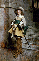 0027001 © Granger - Historical Picture ArchiveMEISSONIER: CAVALIER, 1861.   A Cavalier of the time of Louis XIII. Oil, 1861, by Jean Louis Ernest Meissonier (1815-1891).