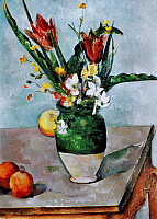 0028288 © Granger - Historical Picture ArchiveCEZANNE: TULIPS, 1890-92.   Paul Cezanne: Vase of Tulips. Oil on canvas, 1890-92.