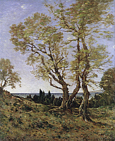 0030039 © Granger - Historical Picture ArchiveOLIVE TREES AT MENTON.   By Henri-Joseph Harpignies. Oil on canvas, 1907. RESTRICTED OUTSIDE US.