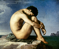 0033455 © Granger - Historical Picture ArchiveFLANDRIN: NUDE YOUTH, 1837.   Nude Youth by the Seaside. Oil on canvas by Jean Hippolyte Flandrin, 1837.