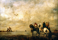 0034049 © Granger - Historical Picture ArchiveFROMENTIN: HUNTING, 1865.   Eugene Fromentin: Arabs hunting with falcons. Oil on canvas, 1865.