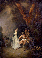 0035143 © Granger - Historical Picture ArchiveWATTEAU: DANCE PAYSANE.   Country Dance. Oil on panel, 18th century, by Antoine Watteau.