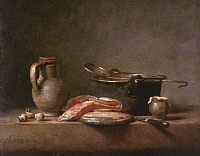 0036388 © Granger - Historical Picture ArchiveCHARDIN: COPPER POT.   Copper Pot, Jug, and Slice of Salmon. Oil on canvas by Jean-Baptiste-Siméon Chardin, 18th century.