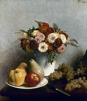 0036390 © Granger - Historical Picture ArchiveFANTIN-LATOUR: FRUITS, 1865.   Flowers and Fruits. Oil on canvas by Henri Fantin-Latour, 1865.