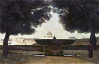 0036463 © Granger - Historical Picture ArchiveCOROT: ROME, 1826.   The Fountain at the French Academy at Rome. Oil on canvas by Jean-Baptiste Camille Corot, 1826.