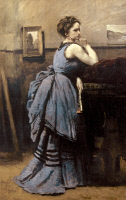 0038377 © Granger - Historical Picture ArchiveCOROT: WOMAN IN BLUE, 1874.   Oil on canvas by Jean-Baptiste Camille Corot, 1874.