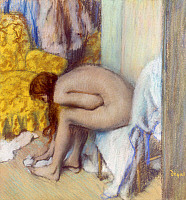 0045640 © Granger - Historical Picture ArchiveDEGAS: AFTER BATH, 1886.   After the Bath, Woman Drying Her Feet. Pastel on cardboard by Edgar Degas, 1886.