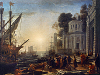 0046702 © Granger - Historical Picture ArchiveCLAUDE: CLEOPATRA.   The disembarkation of Cleopatra at Tarsus. Oil on canvas, c1642-43, by Claude Lorrain.