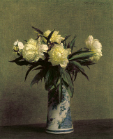 0104934 © Granger - Historical Picture ArchiveFANTIN-LATOUR: PEONIES, 1872.   Peonies in a blue and white vase. Oil on canvas by Henri Fantin-Latour, 1872.