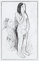 0105096 © Granger - Historical Picture ArchiveGAUGUIN: WOMAN.   'Parau no te varau ino (Words of the Devil).' Pen, brush and ink sketch by Paul Gauguin, late 19th century.