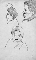 0105105 © Granger - Historical Picture ArchiveGAUGUIN: TAHITIAN HEADS.   Pencil drawings of Maori women, from the sketchbook of Paul Gauguin, 1891-93.